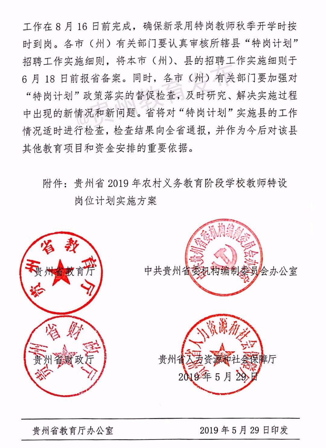 2019年貴州特崗教師計劃實施方案