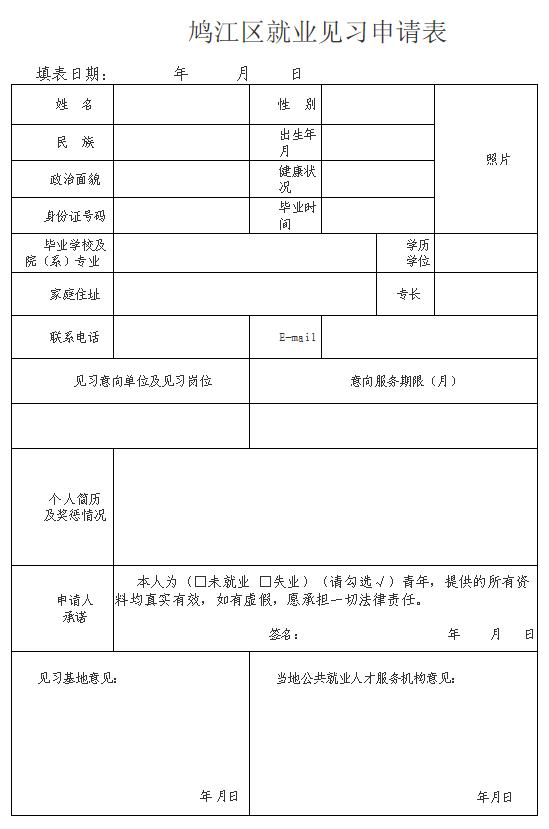 2021年安徽芜湖鸠江区机关事业单位就业见习人员招募公告